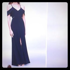 Jersey Gown w/ illusion sides, Navy Blue